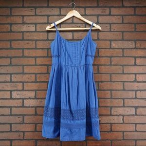 YUMI Pleated Crochet Eyelet Blue Sundress Size 2